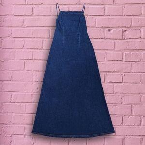 90s backless denim maxi dress